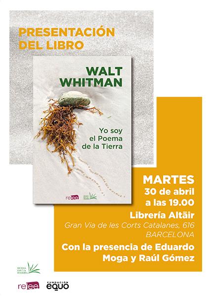 Cartel de presentación en Barcelona del nuevo libro sobre poemas de Whitman